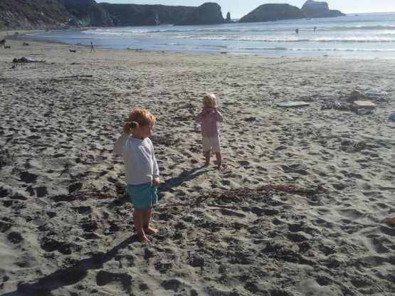 Sienna and Robinson with their new toys at the south end of sand dollar beach