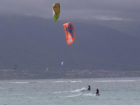 Gesine having fun with orange kite