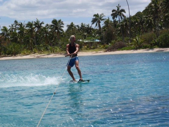 Wakeboarding on glossy waters