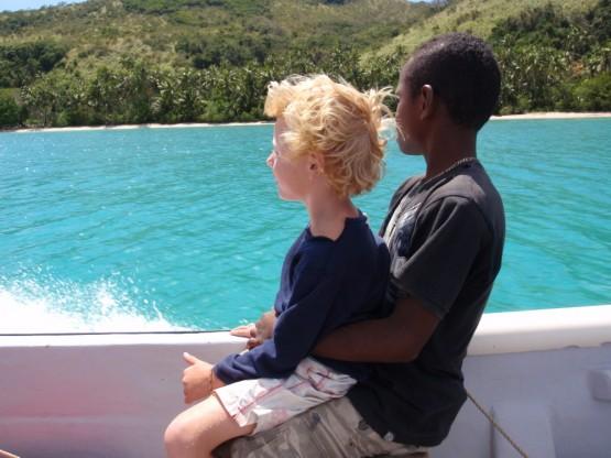 Robinson and Napoleon (Poli) on a boat ride
