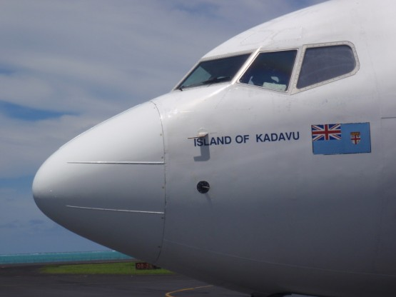 Our Boeing 737 wore the name of our destination, the island of Kadavu