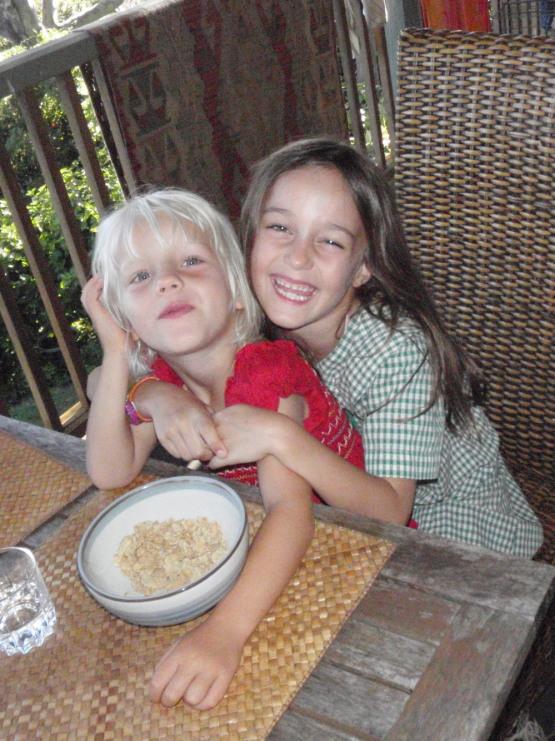 Cille and Sienna enjoying breakfast