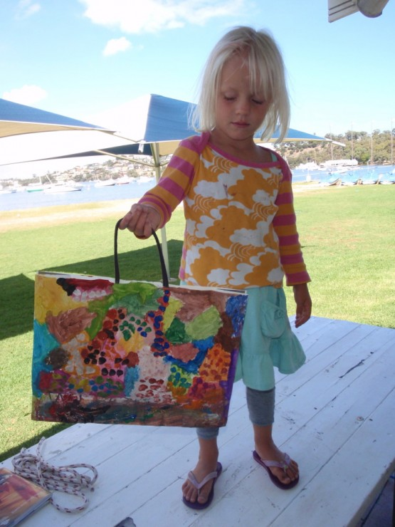 Sienna with her latest piece of art: the spring-time-shopping-bag
