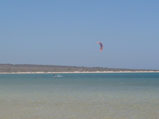 Kiting paradise with flat turquoise warm water....