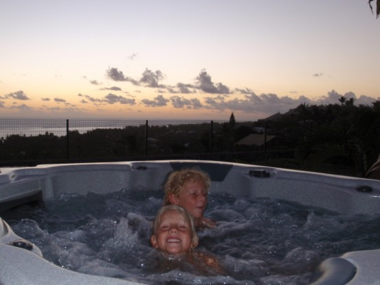 Relaxing at sunset in the spa...