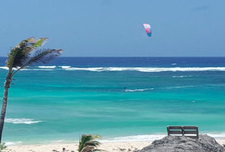 Gesine's private bay with our favourite kite Naish Alana 10m