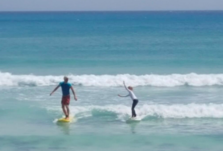 Family surfing at Freights